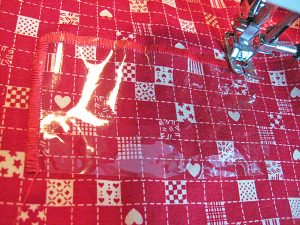 8 Center clear vinyl and zig zag for the gift tag slot